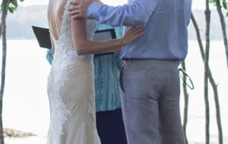 Couple embraces after the Wedding Ceremony
